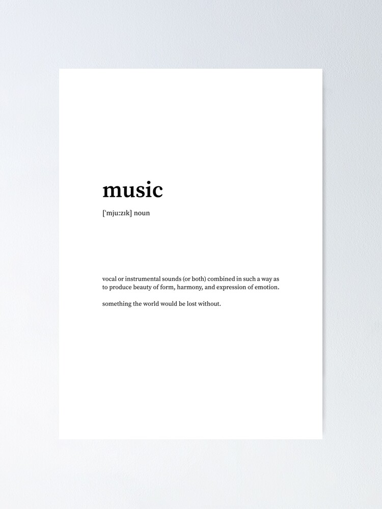 Music Definition Dictionary Oxford Vs Urban - Poster - Canvas Print - Wooden Hanging Scroll ...